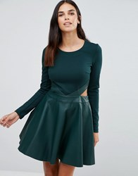 Forever Unique Adela Skater Dress With Cut Outs And Leather Look Skirt Green