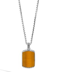 Tigers Eye And Silver Box Chain Dog Tag Necklace John Hardy Brown