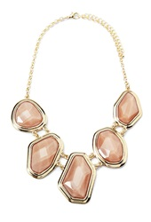 Forever 21 Faux Gem Statement Necklace Taupe Gold