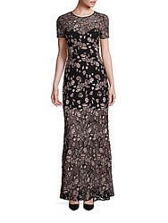 Bcbgmaxazria Alexus Embroidered Lace Gown Light Bare Pink