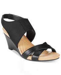 Alfani Monah Slingback Wedge Sandals Only At Macy's Women's Shoes Black