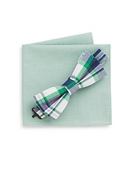 Burma Bibas Plaid Bow Tie And Micro Gingham Pocket Square Green