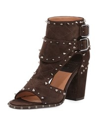 Laurence Dacade Deric Quilted Spike Trim Sandal Bootie Coffe Ruthenium