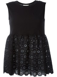 L'autre Chose Anglaise Broderie Flared Top Black
