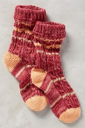 Anthropologie Varsity Stripe Socks Red Motif