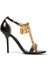 Moschino Chain Trimmed Leather Sandals Black
