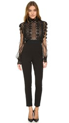 Self Portrait Balloon Sleeve Jumpsuit Black
