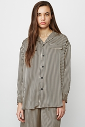 G.V.G.V. Striped Satin Pajama Shirt Beige