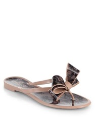 Valentino Jelly Lace Bow Thong Sandals Blush