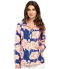 Lilly Pulitzer Skipper Popover Resort Navy Gimme Some Leg Women's Long Sleeve Pullover Pink