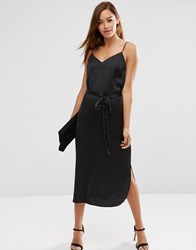 Asos Midi Slip Dress In Satin With Tie Waist Black