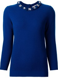 Carolina Herrera Embellished Frill Collar Jumper Blue