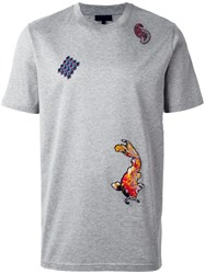 Lanvin Embroidered Patch T Shirt Grey