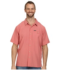 Columbia Big Tall Declination Trail Ii S S Shirt Sunset Red Plaid Men's Short Sleeve Button Up Pink