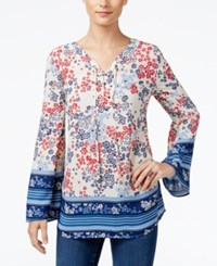 Styleandco. Style Co. Multi Print Peasant Top Only At Macy's Tide Scarf Red
