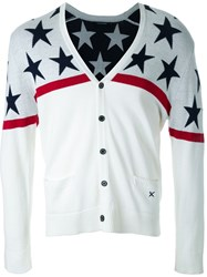 Guild Prime Star Pattern V Neck Cardigan White