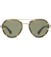 Dries Van Noten Dvn82 Aviator Sunglasses Yellow And Silver