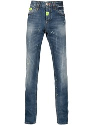 Philipp Plein 'Dotted' Straight Leg Jeans Blue