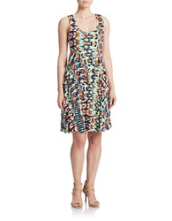 Spense Patterned Tiered Dress Multi Colored