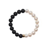 Ora Pearls Orbis Pearl And Onyx Bracelet Gold Charm Black White Gold