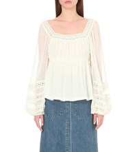 Free People Moonchase Chiffon Peasant Blouse Ivory