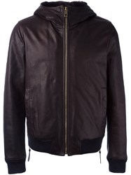 Dolce And Gabbana Hooded Leather Jacket Brown