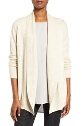 Eileen Fisher Women's Lush Merino Wool Blend Shawl Collar Cardigan Maple Oat