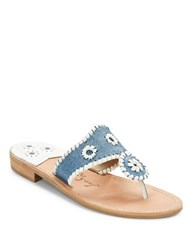 Jack Rogers Raffia Thong Sandals Blue