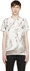 Saint Laurent White And Grey Marble T Shirt