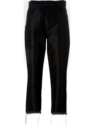Marques Almeida Frayed Hem High Rise Cropped Trousers Black