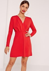 Missguided Pleated Plunge Long Sleeve Skater Dress Red Red