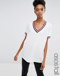 Asos Tall Varsity Tunic With Tipping White