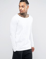 Asos Long Sleeve T Shirt With Boat Neck In White White