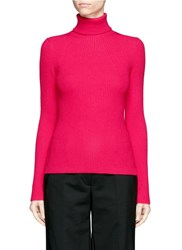 3.1 Phillip Lim Wool Blend Rib Knit Turtleneck Sweater Pink