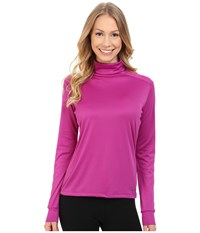 Hot Chillys Peach Roll T Neck Candyland Plum Women's Long Sleeve Pullover Pink