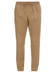 Tomas Maier Drawstring Straight Leg Cotton Blend Trousers Tan