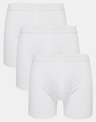 Pringle William Button Trunks In 3 Pack White
