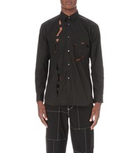 Comme Des Garcons Cutout Regular Fit Cotton Shirt Black