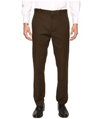 Perry Ellis Slim Fit Stretch Solid Sateen Dress Pants Forest Pine Men's Dress Pants Brown