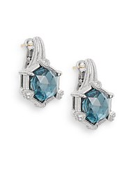 Judith Ripka La Petite London Blue Spinel White Sapphire And Sterling Silver Drop Earrings Silver Blue