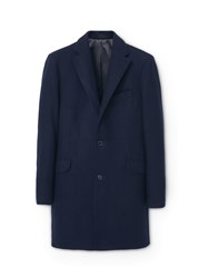 Mango Tailored Wool Blend Overcoat Navy