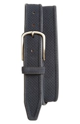 Men's Johnston And Murphy Perforated Suede Belt Navy