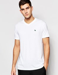 Abercrombie And Fitch T Shirt With V Neck Classic Regular Fit In White White