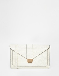 Warehouse Croc Buckle Clutch With Chain Strap In Vintage Cream