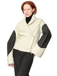 Maison Martin Margiela Ribbed Wool And Leather Sweater