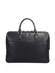Dunhill Solid Grain Leather Briefcase Black