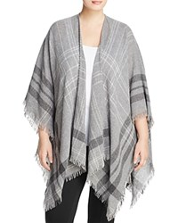 Eileen Fisher Plus Frayed Plaid Shawl 100 Bloomingdale's Exclusive Ash Pewter