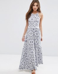 Asos Tile Print Tiered Maxi With Lace Trim Blue White Multi