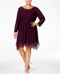 American Rag Trendy Plus Size Crochet Fit And Flare Dress Only At Macy's Plum