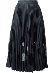 Msgm Dotted Pleated Skirt Grey